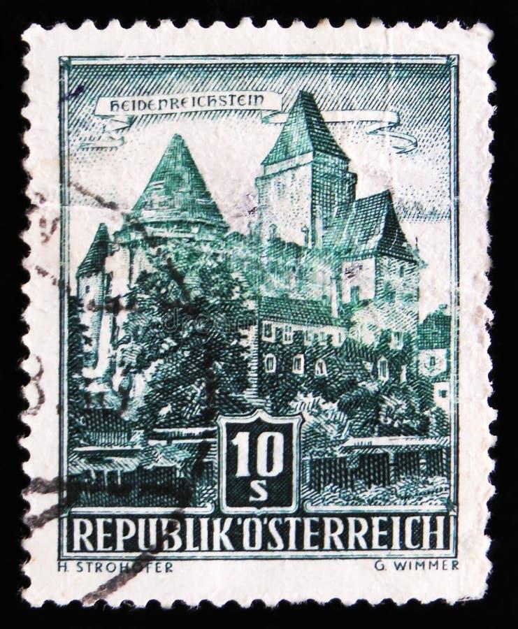 Heidenreichstein Castle, circa 1957. MOSCOW, RUSSIA - APRIL 2, 2017: A post stamp printed in Austria, shows Heidenreichstein Castle, circa 1957 royalty free stock images