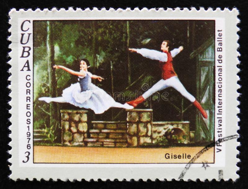MOSCOW, RUSSIA - APRIL 2, 2017: A post stamp printed in Cuba, de. Dicated to the 5th International Ballet Festival, shows a scene from the ballet Giselle, circa stock image