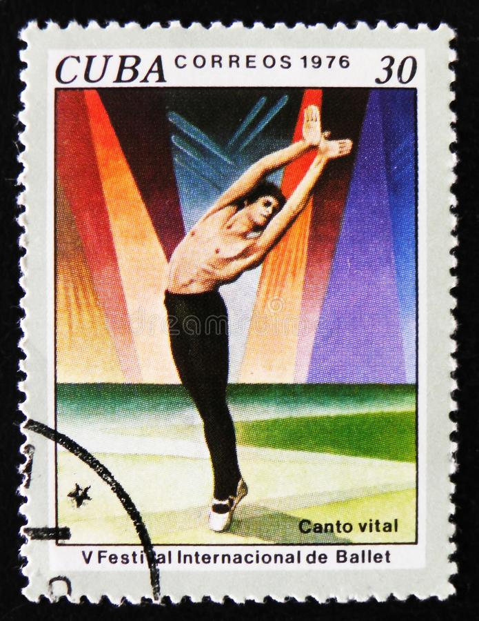 Scene from the ballet `The Song of Nature`, circa 1976. MOSCOW, RUSSIA - APRIL 2, 2017: A post stamp printed in Cuba, dedicated to the 5th International Ballet stock photography