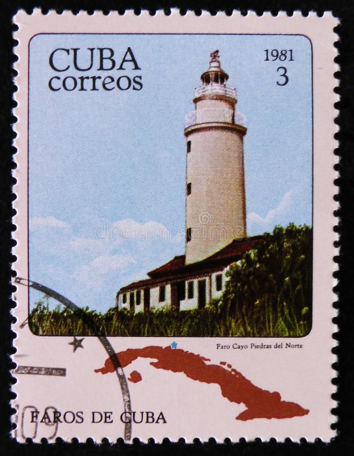 MOSCOW, RUSSIA - APRIL 2, 2017: A post stamp printed in Cuba shows lighthouse, circa 1981 royalty free stock photo