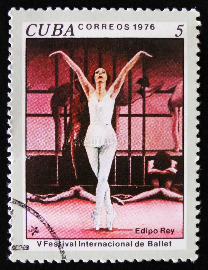 MOSCOW, RUSSIA - APRIL 2, 2017: A post stamp printed in Cuba shows Scene from Ballet Oedipus Rex, 5th International Ballet. Festival, Havana, circa 1976 stock photos