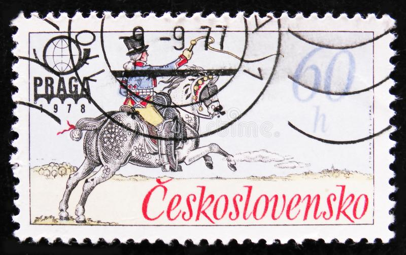 MOSCOW, RUSSIA - APRIL 2, 2017: A post stamp printed in Czechoslovakia shows a Rider with a whip, circa 1978 stock image