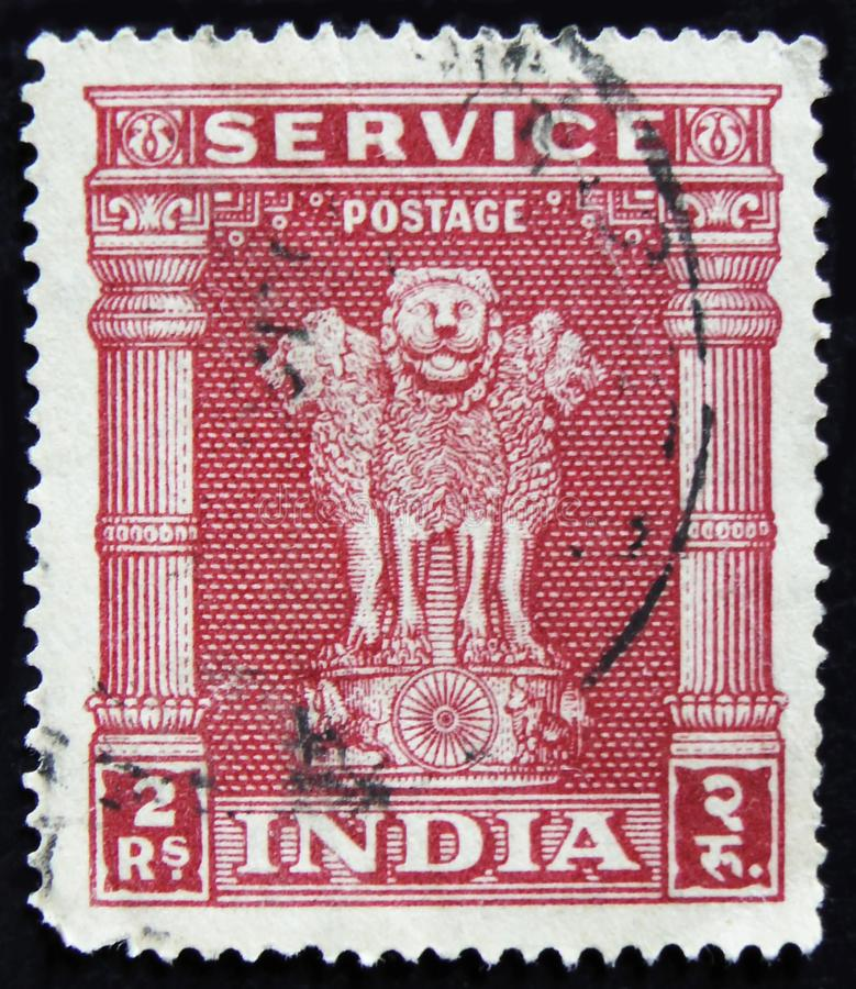 MOSCOW, RUSSIA - APRIL 2, 2017: A post stamp printed in India sh. Ows Indian lions capital of Ashoka Pillar, circa 1958 stock photography