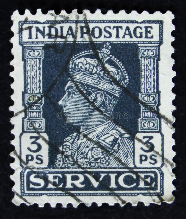 Indian postage stamp shows portrait of George VI 1895 -1952, circa 1942. MOSCOW, RUSSIA - APRIL 2, 2017: A post stamp printed in India shows portrait of George stock photos