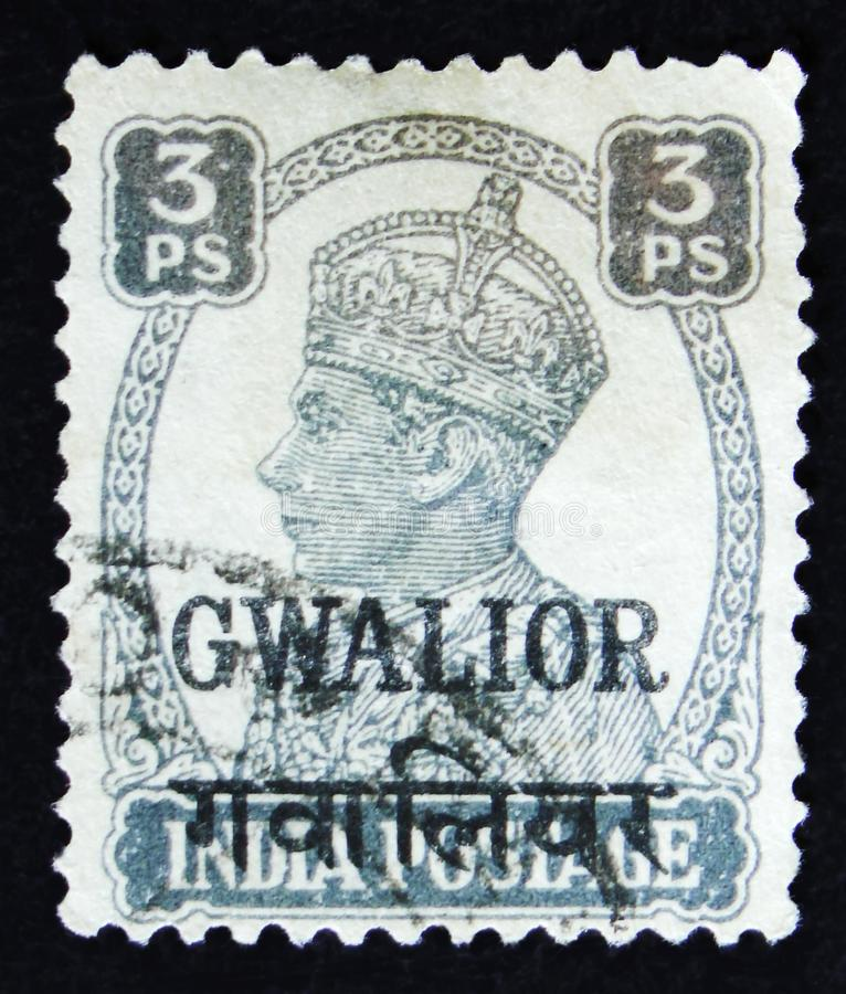 Indian postage stamp shows portrait of George VI 1895 -1952, circa 1941. MOSCOW, RUSSIA - APRIL 2, 2017: A post stamp printed in India shows portrait of George royalty free stock images