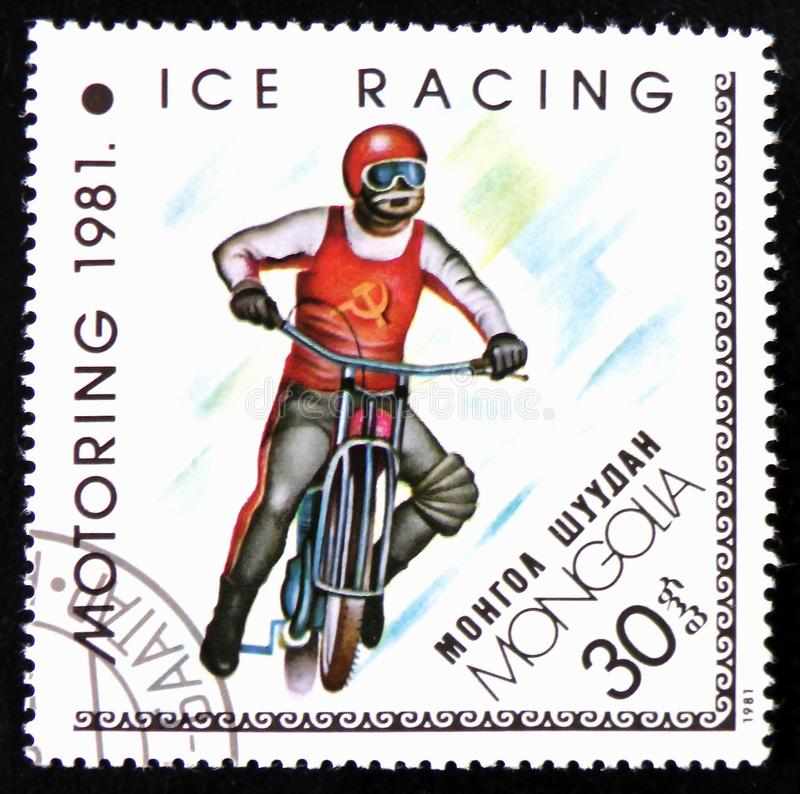 Ice Racing, Sport, circa 1981. MOSCOW, RUSSIA - APRIL 2, 2017: A post stamp printed in Mongolia shows Ice Racing, Sport, circa 1981 stock image