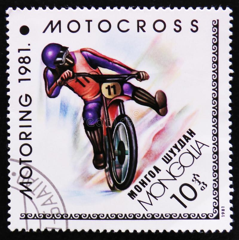 Motocross, Motoring serie, circa 1981. MOSCOW, RUSSIA - APRIL 2, 2017: A post stamp printed in Mongolia shows Motocross, Motoring serie, circa 1981 stock photos