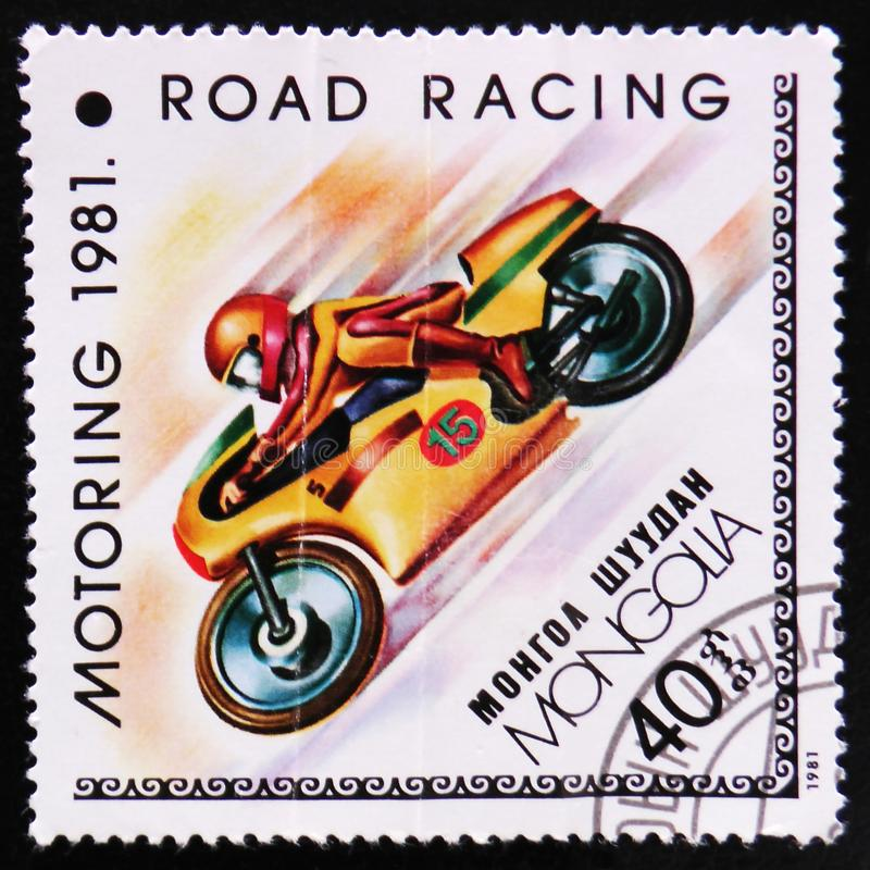 Road racing, Motoring serie, circa 1981. MOSCOW, RUSSIA - APRIL 2, 2017: A post stamp printed in Mongolia shows Road racing, Motoring serie, circa 1981 stock photo