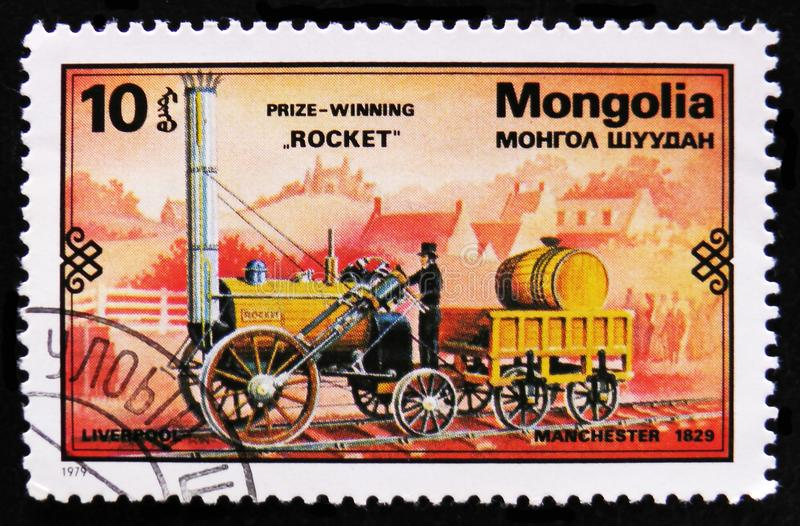Rocket train, 1829, Retro trains serie, circa 1979. MOSCOW, RUSSIA - APRIL 2, 2017: A post stamp printed in Mongolia shows Rocket train, 1829, Retro trains serie royalty free stock image