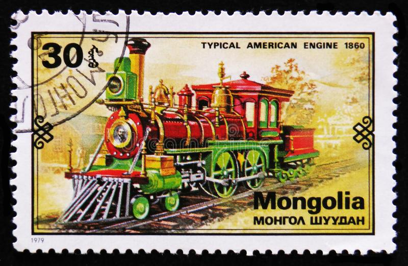Steam train, 1860, Retro trains serie, circa 1979. MOSCOW, RUSSIA - APRIL 2, 2017: A post stamp printed in Mongolia shows steam train, 1860, Retro trains serie royalty free stock image