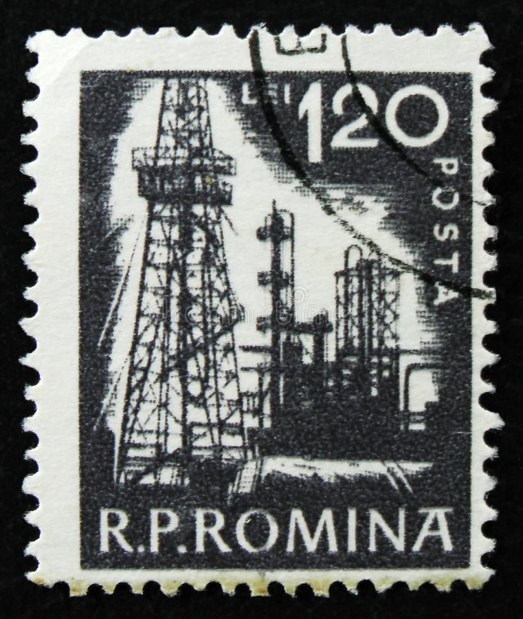 Romanian stamp shows Petroleum refinery, circa 1960 stock photo