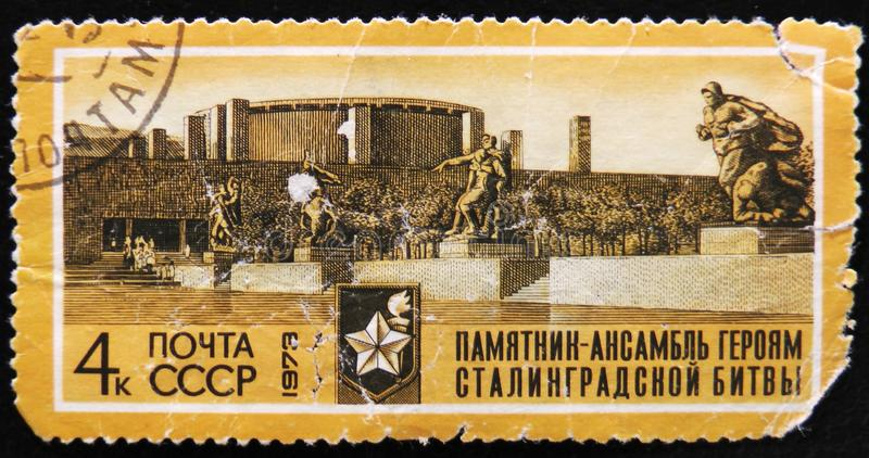 MOSCOW, RUSSIA - APRIL 2, 2017: A post stamp printed in USSR shows an avenue of monuments to series heroes of the Battle of Sta royalty free stock image
