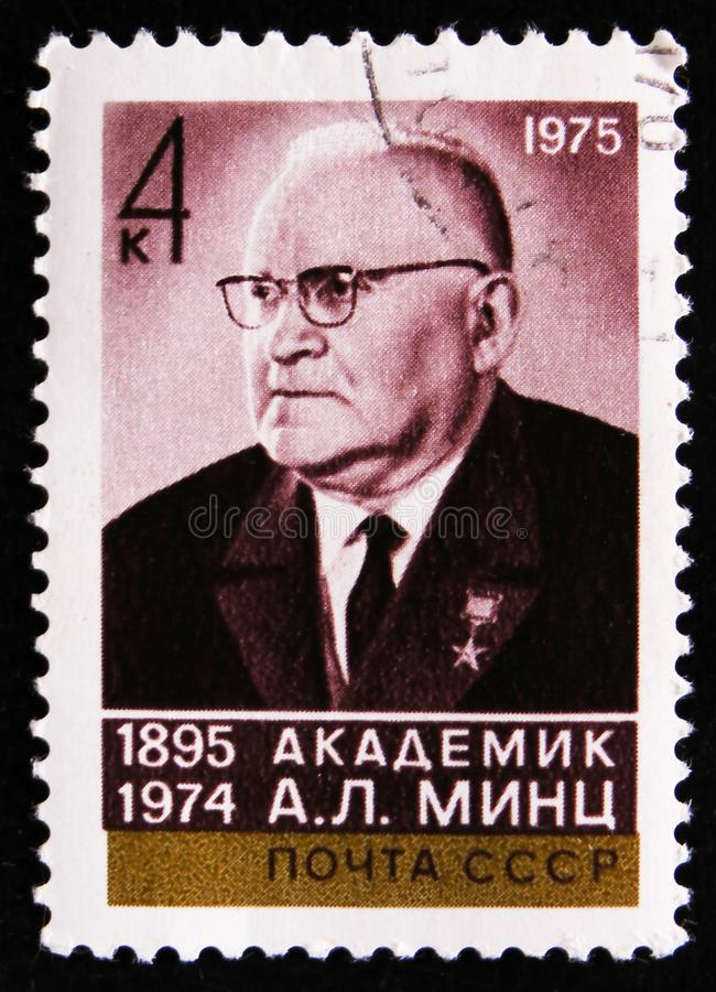Portrait of a academician A. L. Mints 1895-1974, Physicist, circa 1975. MOSCOW, RUSSIA - APRIL 2, 2017: A post stamp printed in USSR shows the portrait of a royalty free stock images