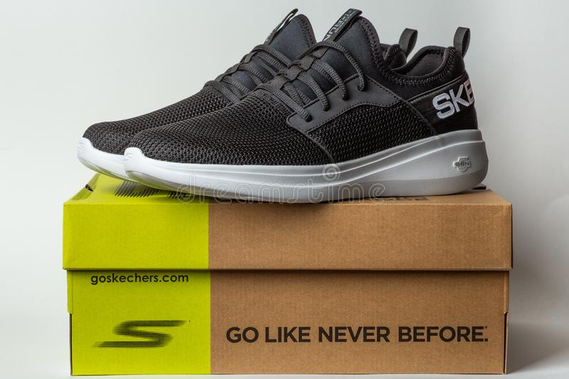 Moscow, Russia - 28 April 2019 : Skechers GoRun Fast - lightweight trainer sneakers or sport shoes for training workouts. In and out of gym on white background stock photo