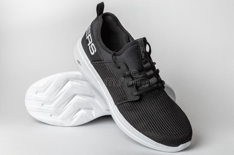 Moscow, Russia - 28 April 2019 : Skechers GoRun Fast - lightweight trainer sneakers or sport shoes for training workouts. In and out of gym on white background stock photos
