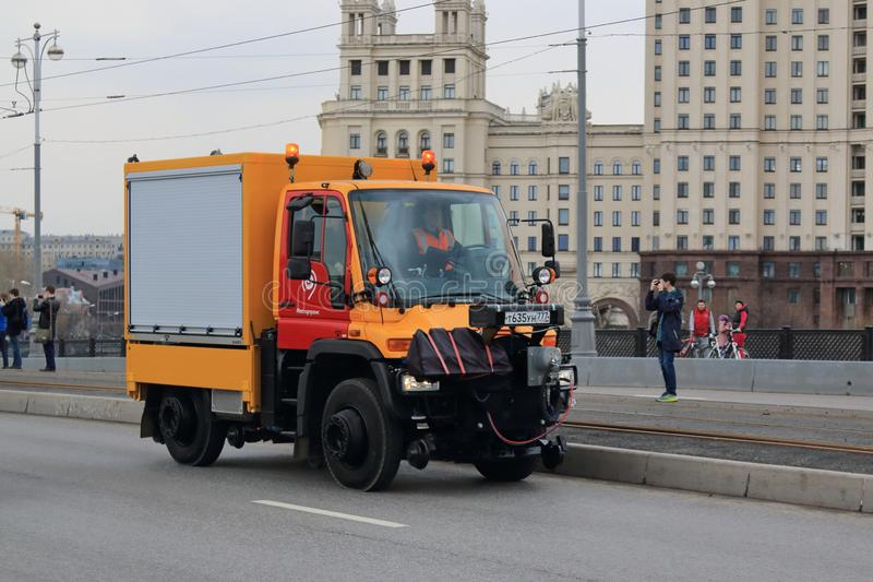 Moscow, Russia - April 20, 2019: Special cars are mandatory participants of the Tram Parade in Moscow. Every year a very popular Parade of Trams is held in stock photo