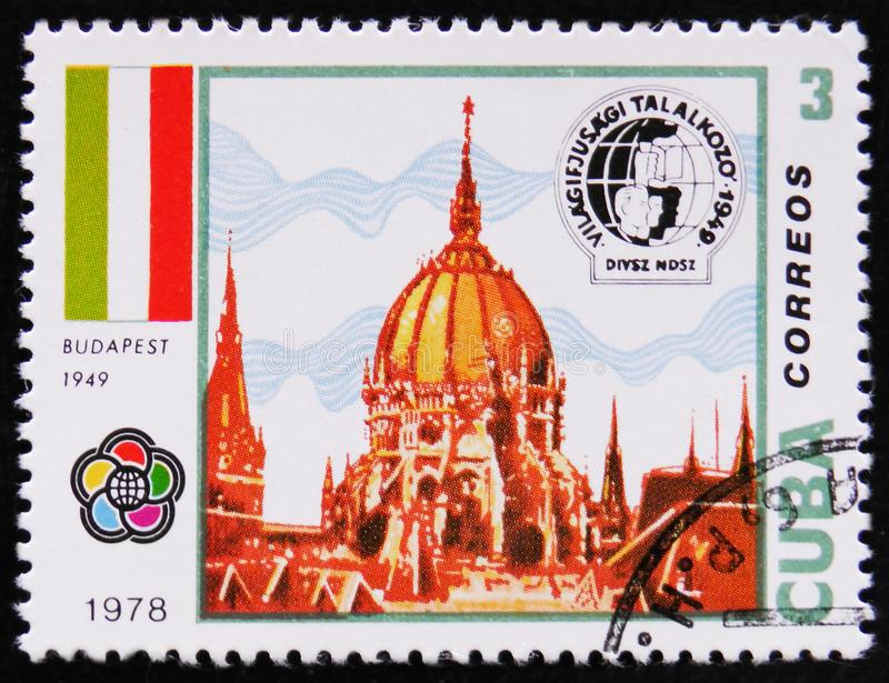 Building in Budapest circa 1978. MOSCOW, RUSSIA - APRIL 2, 2017: A stamp printed in Cuba shows image of the Building in Budapest circa 1978 stock images