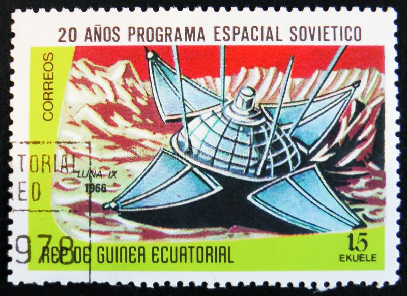 Stamp printed in Guinea Equatorial shows Luna 9 space ship, circa 1978. MOSCOW, RUSSIA - APRIL 2, 2017: A stamp printed in Guinea Equatorial shows Luna 9 royalty free stock image