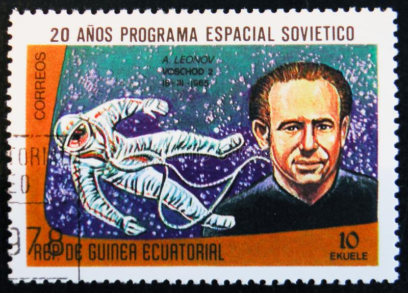 Stamp printed in Guinea Equatorial shows A. Leonov, circa 1978. MOSCOW, RUSSIA - APRIL 2, 2017: A stamp printed in Guinea Equatorial shows Voskhod 2 space stock photography