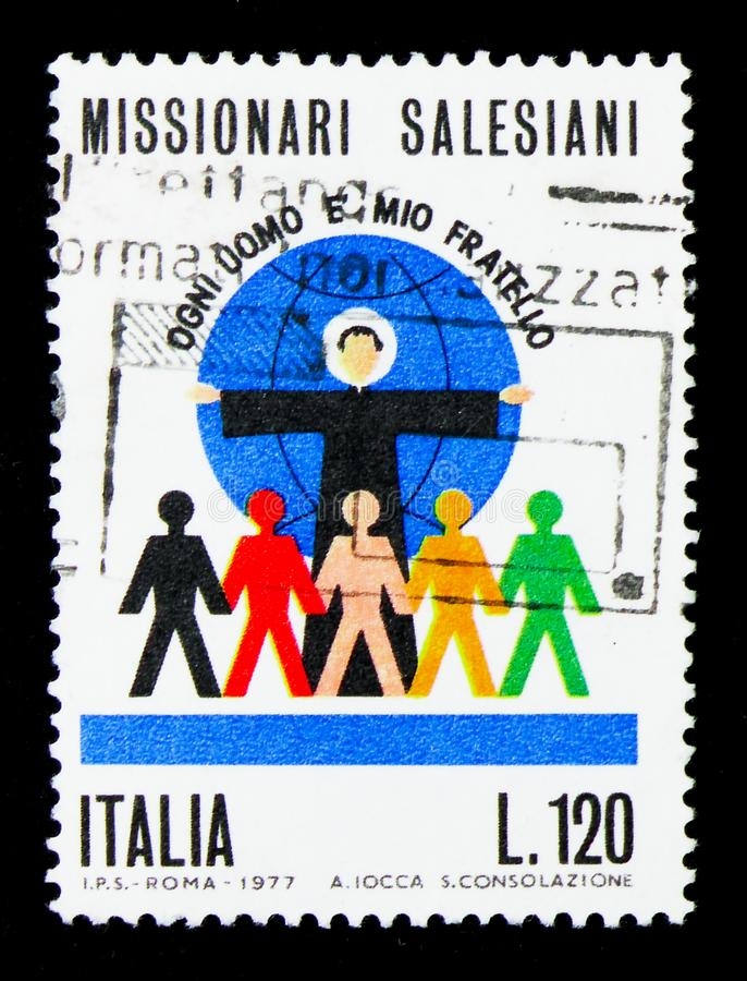 Salesian Missionaries, serie, circa 1977. MOSCOW, RUSSIA - APRIL 15, 2018: A stamp printed in Italy shows Salesian Missionaries, serie, circa 1977 royalty free stock image