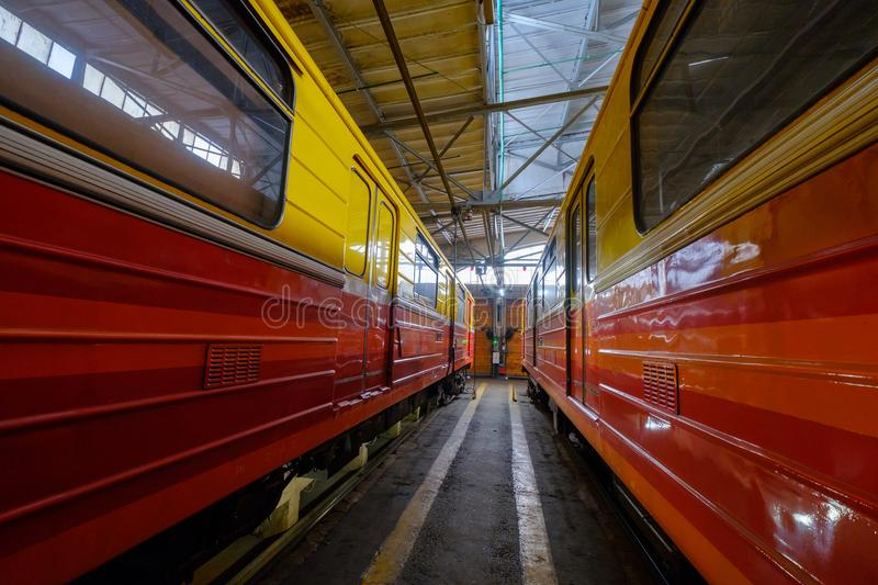Subway train metro depot Krasnaya presnya interior. Moscow, Russia - April 15, 2018: Subway train metro depot Krasnaya presnya interior stock photos