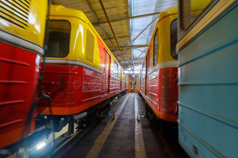 Subway train metro depot Krasnaya presnya interior. Moscow, Russia - April 15, 2018: Subway train metro depot Krasnaya presnya interior royalty free stock image