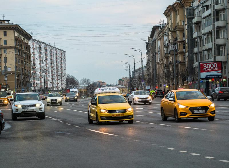 MOSCOW, RUSSIA,APRIL,5.2019:Taxi in motion on the highway of a megapolis stock photography