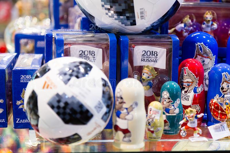MOSCOW, RUSSIA - APRIL 30, 2018: TOP GLIDER match ball replica for World Cup FIFA 2018 mundial in the souvenir shop. MOSCOW, RUSSIA - APRIL 30, 2018: Zabivaka royalty free stock photo