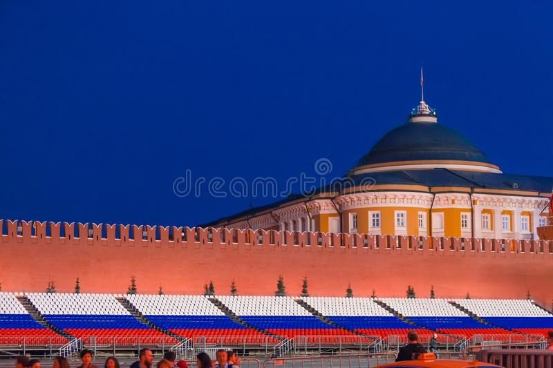 MOSCOW, RUSSIA - April 30, 2018. View on the Senate Palace from Red Square before the May 1 celebration. Twilight Before Sunset. MOSCOW, RUSSIA - April 30, 2018 royalty free stock photo