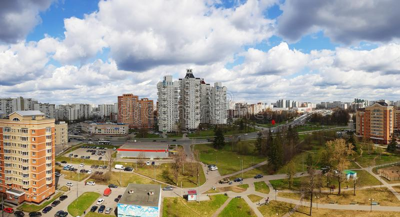 Moscow, Russia - April 29. 2018. view of sleeping area in Zelenograd administrative district. Moscow, Russia - April 29. 2018. view of the sleeping area in the stock photo