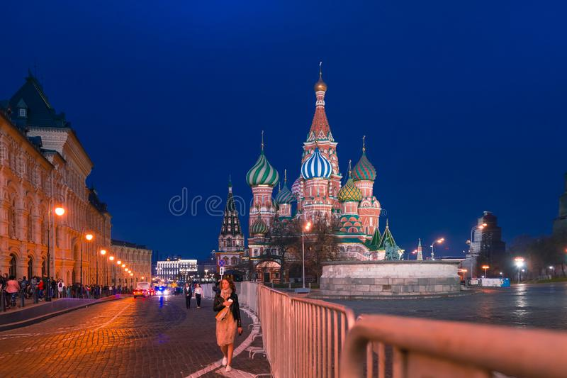 MOSCOW, RUSSIA - APRIL 30, 2018: View of St. Basil`s Cathedral on Red Square and frontal place. Evening, before sunset. stock photography