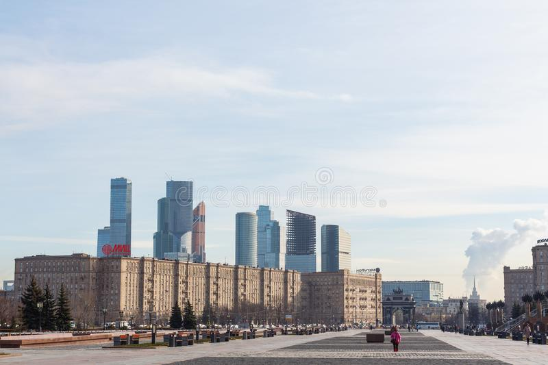 View from Victory Park on Poklonnaya hill to Moscow International Business Centre MIBC stock image