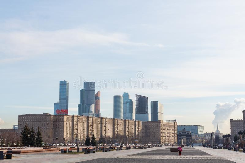 View from Victory Park on Poklonnaya hill to Moscow International Business Centre MIBC stock photo
