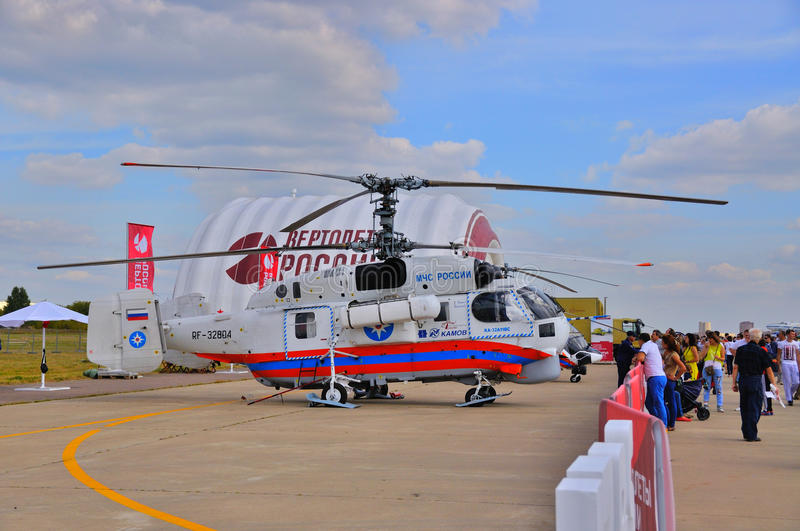 MOSCOW, RUSSIA - AUG 2015: Emergency helicopter Ka-32 Helix pres stock photo