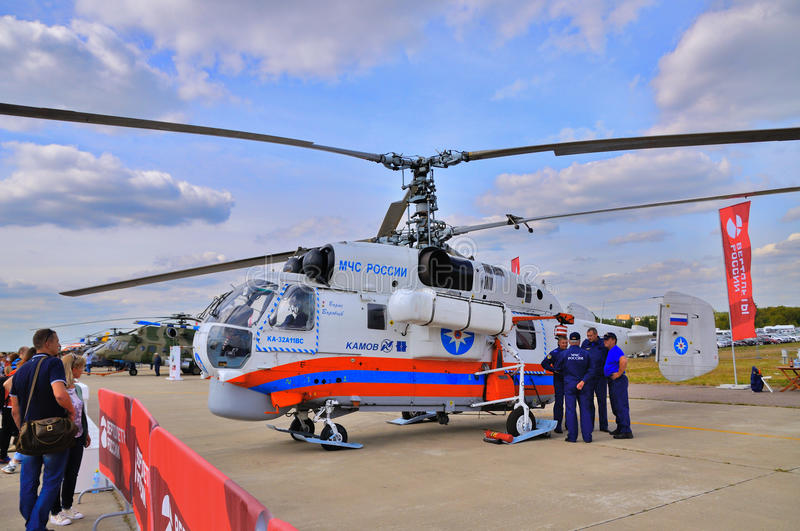 MOSCOW, RUSSIA - AUG 2015: Emergency helicopter Ka-32 Helix pres. Ented at the 12th MAKS-2015 International Aviation and Space Show on August 28, 2015 in Moscow stock images