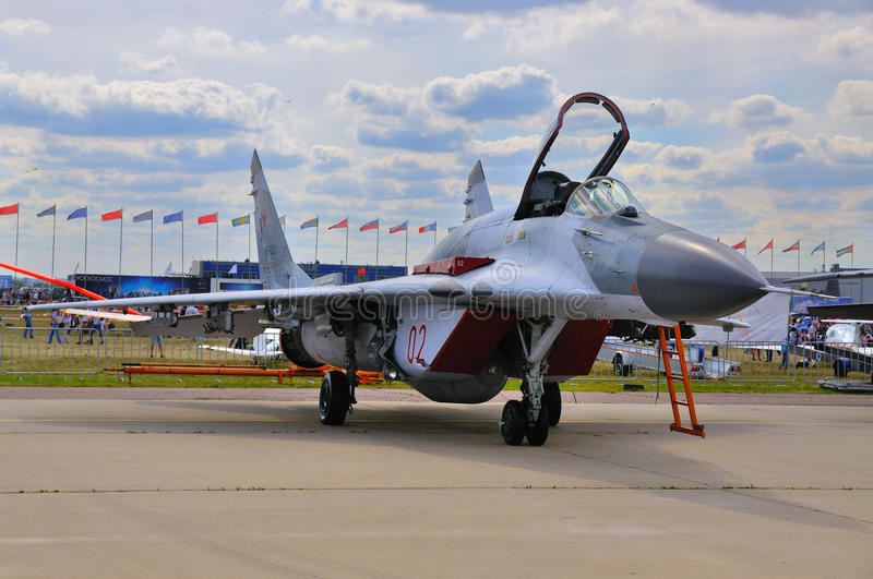 MOSCOW, RUSSIA - AUG 2015: fighter aircraft MiG-29 Fulcrum prese. Nted at the 12th MAKS-2015 International Aviation and Space Show on August 28, 2015 in Moscow stock photography