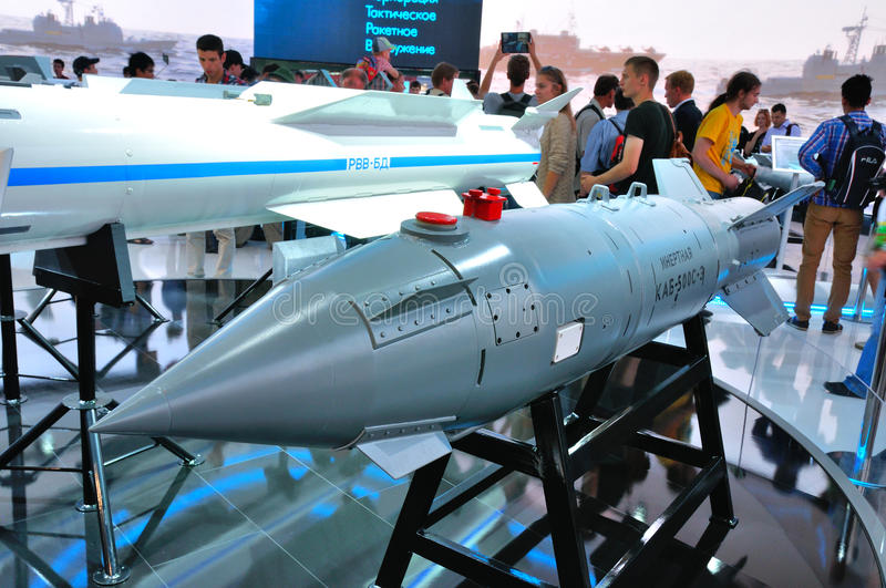 MOSCOW, RUSSIA - AUG 2015: guided bomb KAB-500S presented at the. 12th MAKS-2015 International Aviation and Space Show on August 28, 2015 in Moscow, Russia stock photography