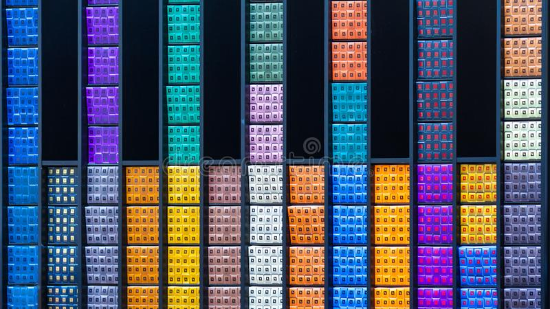 Abstract view of a multi-colored boxes with cosmetics. Editorial royalty free stock image