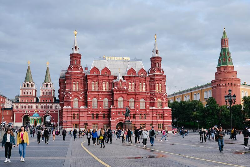 MOSCOW, RUSSIA - AUGUST, 2019: The building of the State historical Museum on red square in Moscow stock images