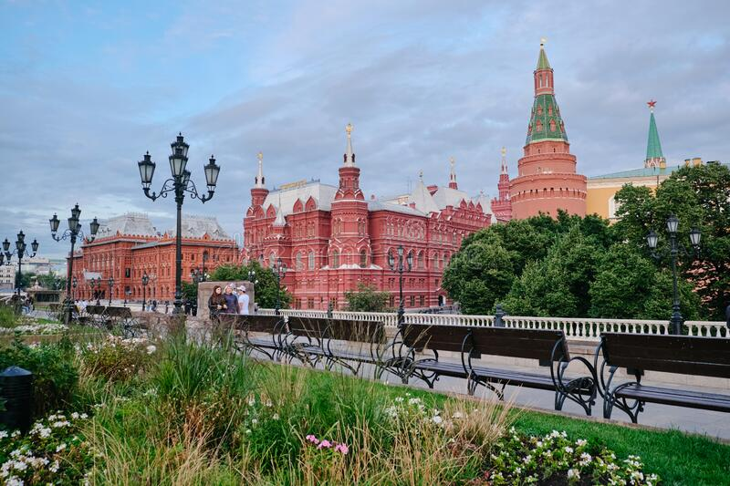 MOSCOW, RUSSIA - AUGUST, 2019: The building of the State historical Museum on red square in Moscow royalty free stock photos