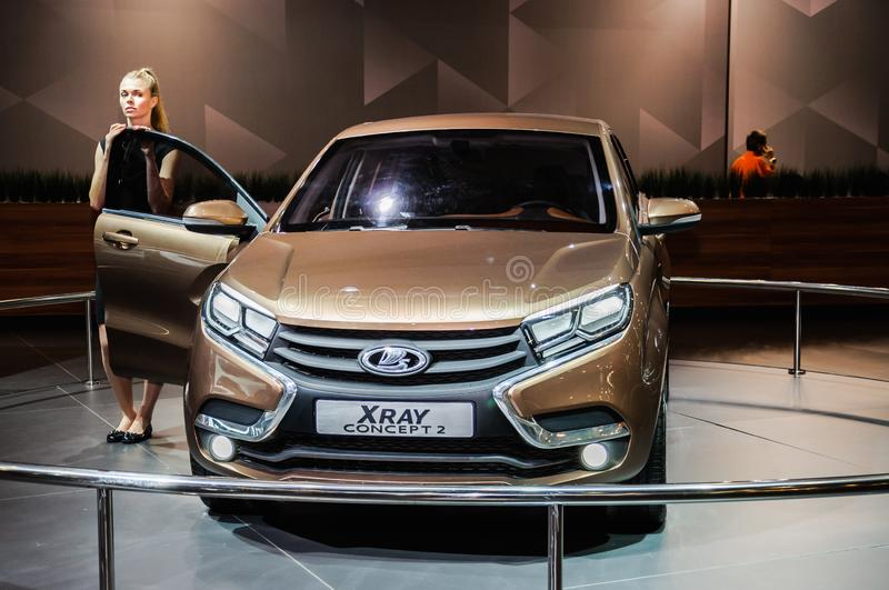 Crossover Lada XRAY Concept 2. Moscow, Russia - August 27, 2015. Crocus Expo. International exhibition of SUVs, crossovers and off-road vehicles `Moscow Off-Road royalty free stock photos