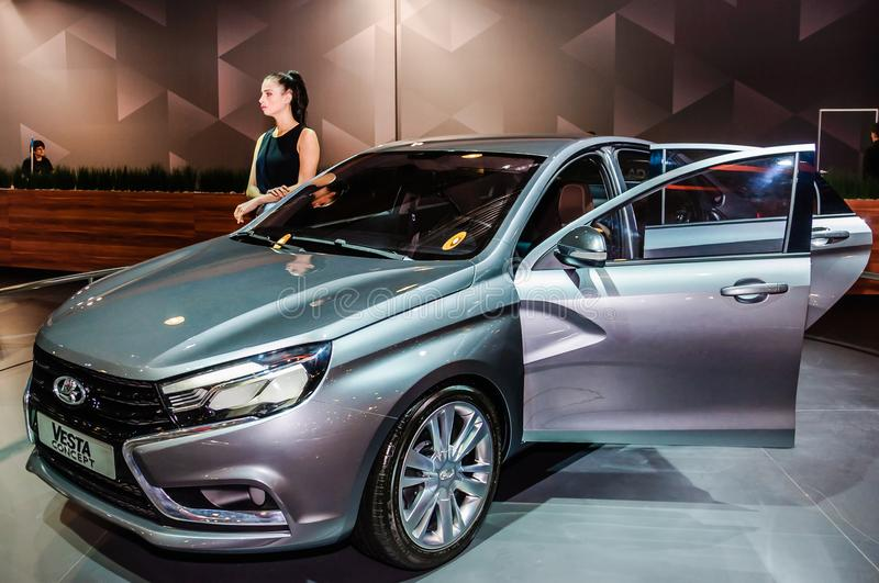 Sedan Lada Vesta Concept. Moscow, Russia - August 27, 2015. Crocus Expo. International exhibition of SUVs, crossovers and off-road vehicles `Moscow Off-Road Show stock photos