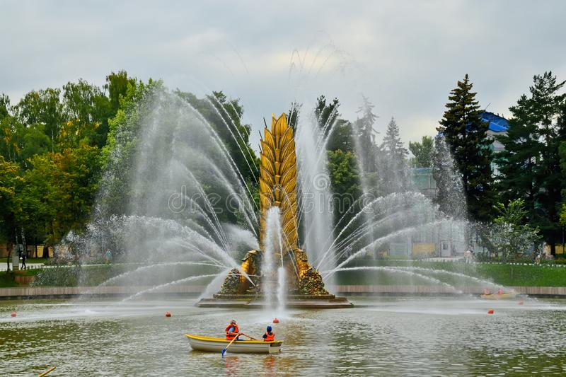 Moscow, Russia - august 12, 2019: Fountain Golden spike at VDNKh in Moscow royalty free stock photography