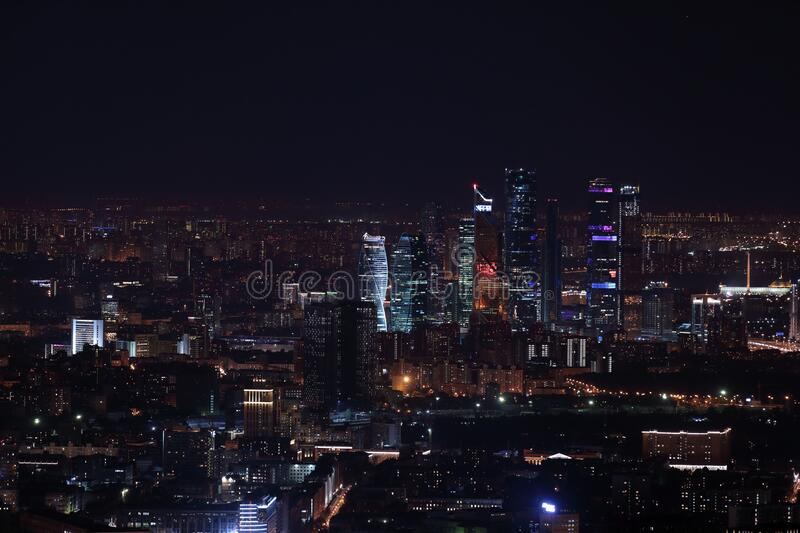 Night view at Moscow City International Business Center from Ostankinskaya TV Tower royalty free stock photos