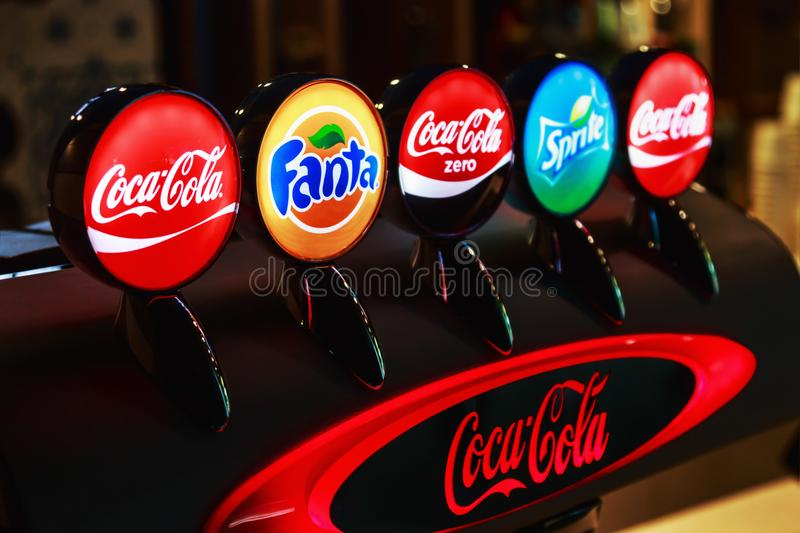 popular brands of sweet carbonated drinks royalty free stock image
