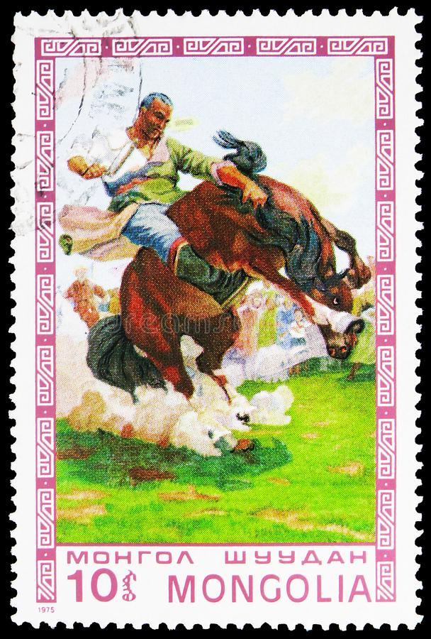 Taming wild horse, Mongolian paintings masterfully serie, circa 1975. MOSCOW, RUSSIA - AUGUST 22, 2019: Postage stamp printed in Mongolia shows Taming wild horse stock photo