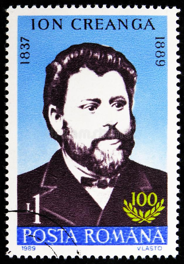 Ion Creanga, Anniversaries 1989 serie, circa 1989. MOSCOW, RUSSIA - AUGUST 8, 2019: Postage stamp printed in Romania shows Ion Creanga, Anniversaries 1989 serie stock photos