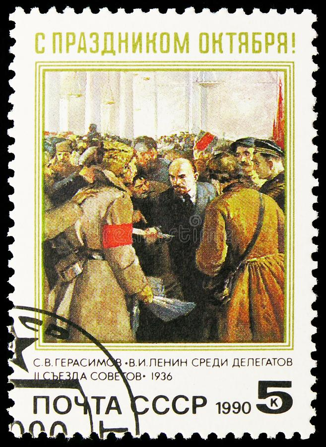 73rd Anniversary of Great October Revolution, serie, circa 1990. MOSCOW, RUSSIA - AUGUST 31, 2019: Postage stamp printed in Soviet Union Russia devoted to 73rd stock image