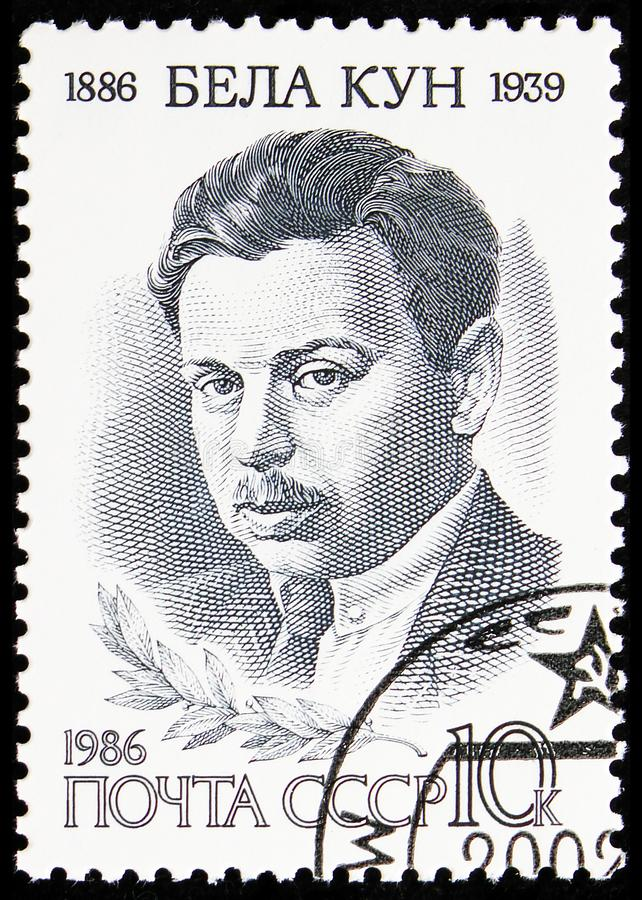 Birth Centenary of Bela Kun, Birth Anniversaries serie, circa 1986. MOSCOW, RUSSIA - AUGUST 31, 2019: Postage stamp printed in Soviet Union (Russia) devoted to stock image