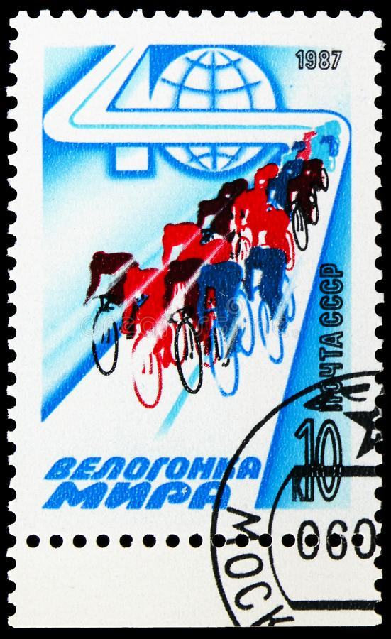 40th Peace Cycle Race, circa 1987. MOSCOW, RUSSIA - AUGUST 31, 2019: Postage stamp printed in Soviet Union Russia devoted to 40th Peace Cycle Race, circa 1987 stock photos